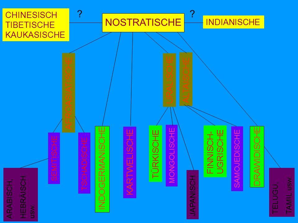 INDOGERMANISCHE KARTWELISCHE URALISCHE ALTAISCHE DRAWIDISCHE AFROASIATISCHE CHINESISCH TIBETISCHE KAUKASISCHE INDIANISCHE .