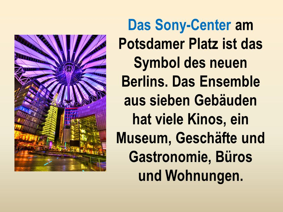 Im Zentrum Berlins, am Alexanderplatz befindet sich der Berliner Fernsehturm. Viele Touristen besichtigen gern den Turm. Mit 2 Liften werden sie nach