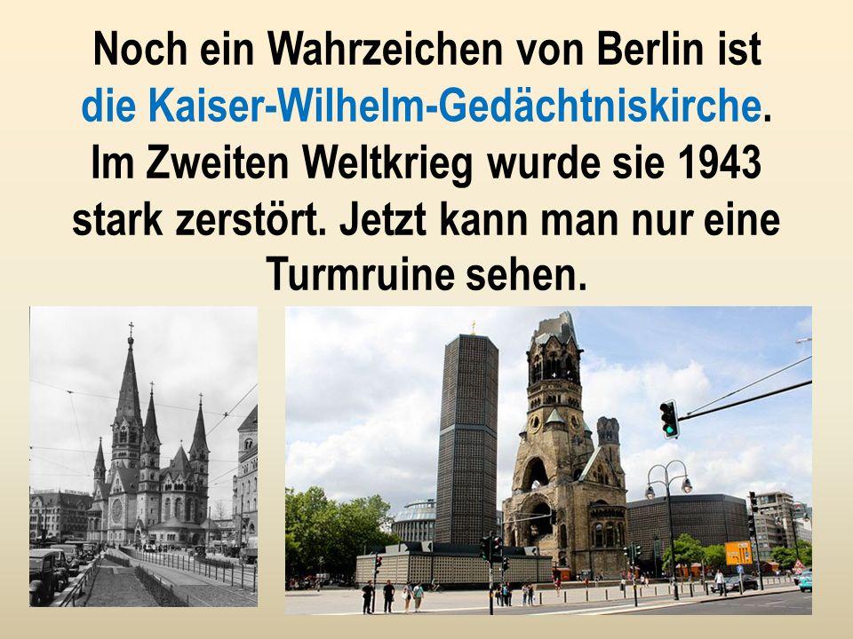 Das Wahrzeichen von Berlin ist das weltberühmte Brandenburger Tor. Es wurde Ende des 18-ten Jahrhunderts gebaut. Das Tor ist 65 m breit und hat 5 Durc