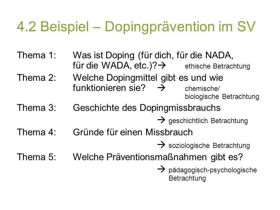 4.2 Beispiel – Dopingprävention im SV Thema 1: Was ist Doping (für dich, für die NADA, für die WADA, etc.).