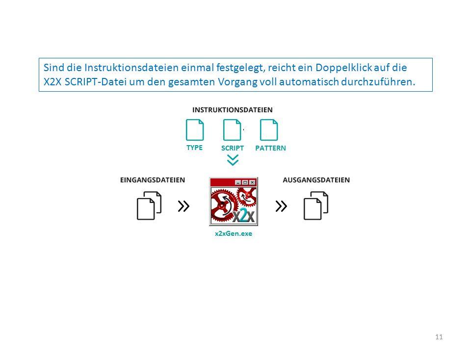 Sind die Instruktionsdateien einmal festgelegt, reicht ein Doppelklick auf die X2X SCRIPT-Datei um den gesamten Vorgang voll automatisch durchzuführen