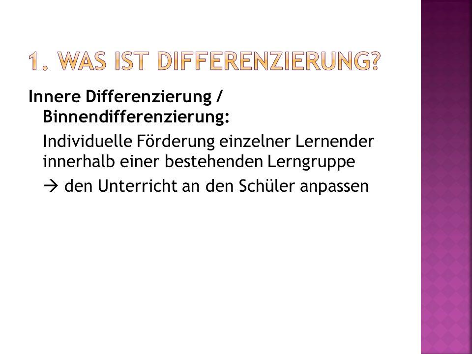 Innere Differenzierung / Binnendifferenzierung: Individuelle Förderung einzelner Lernender innerhalb einer bestehenden Lerngruppe  den Unterricht an den Schüler anpassen