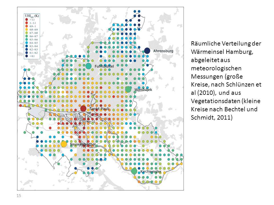 15 Räumliche Verteilung der Wärmeinsel Hamburg, abgeleitet aus meteorologischen Messungen (große Kreise, nach Schlünzen et al (2010), und aus Vegetati