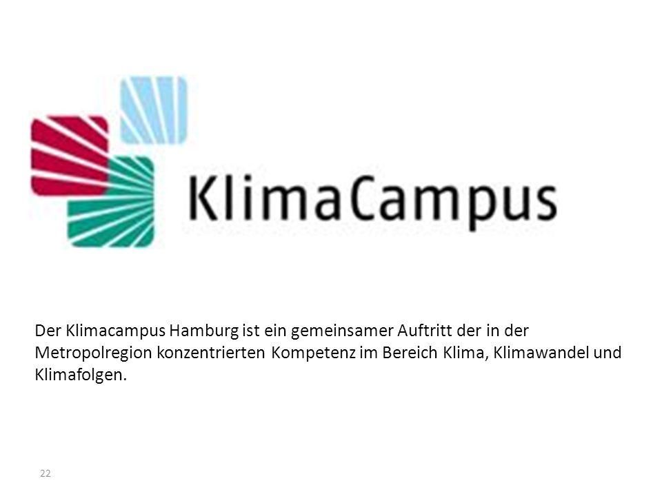 22 Der Klimacampus Hamburg ist ein gemeinsamer Auftritt der in der Metropolregion konzentrierten Kompetenz im Bereich Klima, Klimawandel und Klimafolg