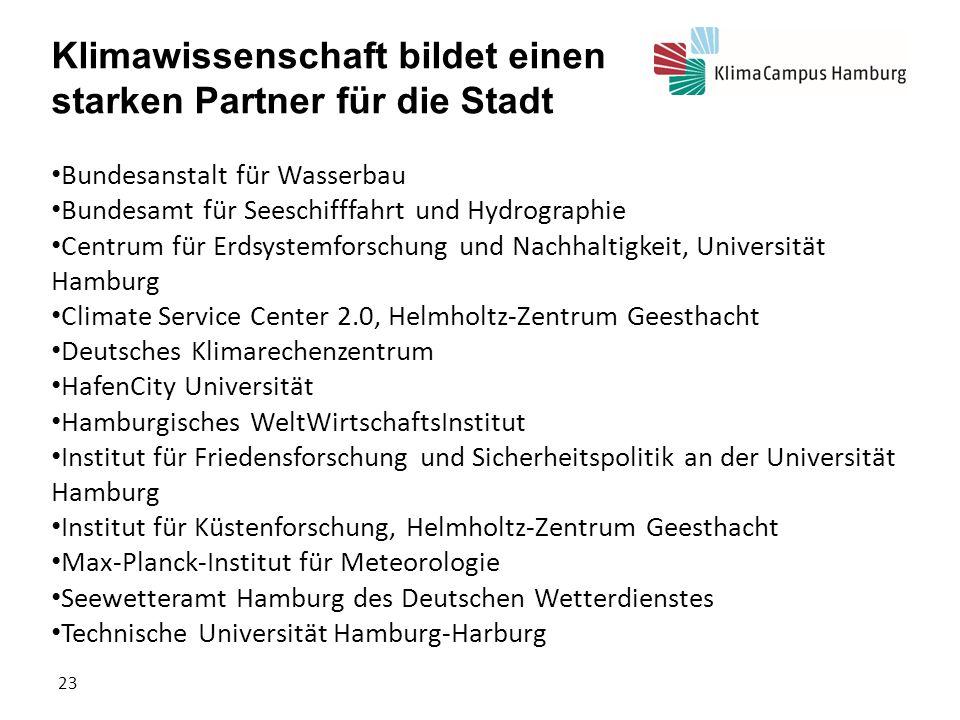 KlimaCampus Hamburg Klimawissenschaft bildet einen starken Partner für die Stadt Bundesanstalt für Wasserbau Bundesamt für Seeschifffahrt und Hydrogra