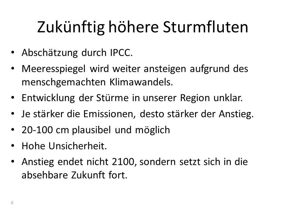 Zukünftig höhere Sturmfluten Abschätzung durch IPCC. Meeresspiegel wird weiter ansteigen aufgrund des menschgemachten Klimawandels. Entwicklung der St