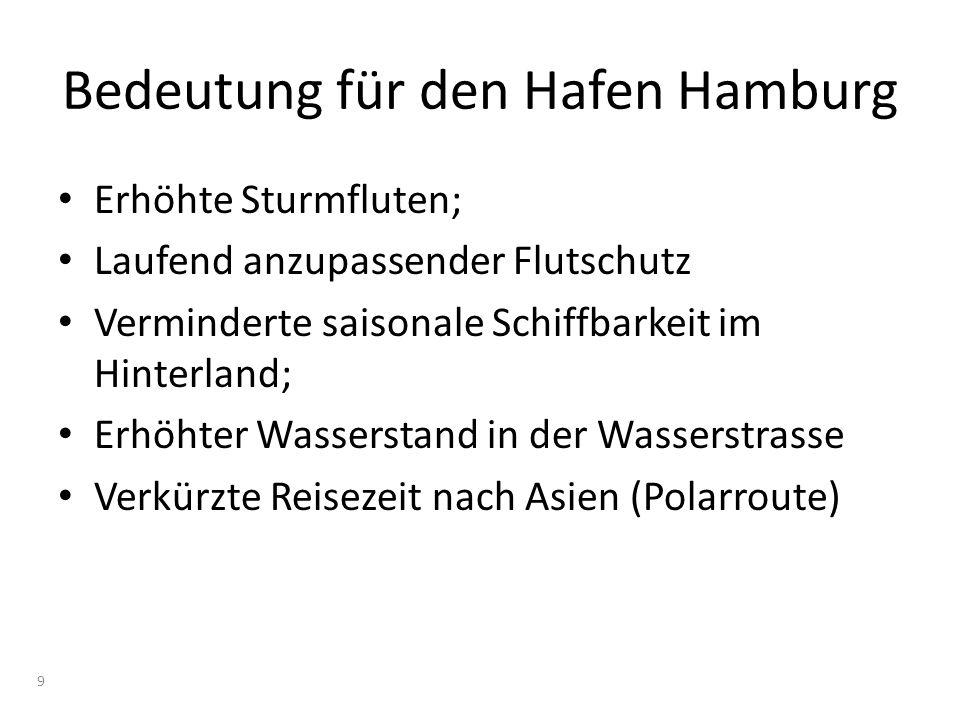Bedeutung für den Hafen Hamburg Erhöhte Sturmfluten; Laufend anzupassender Flutschutz Verminderte saisonale Schiffbarkeit im Hinterland; Erhöhter Wass