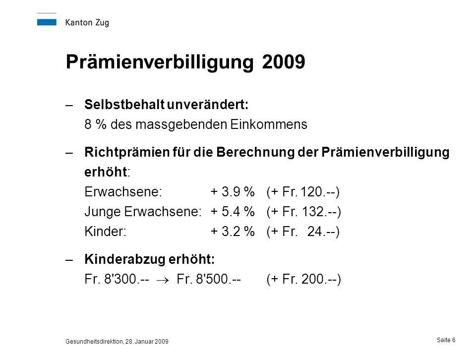 Gesundheitsdirektion, 28. Januar 2009 Seite 6 Prämienverbilligung 2009 –Selbstbehalt unverändert: 8 % des massgebenden Einkommens –Richtprämien für di