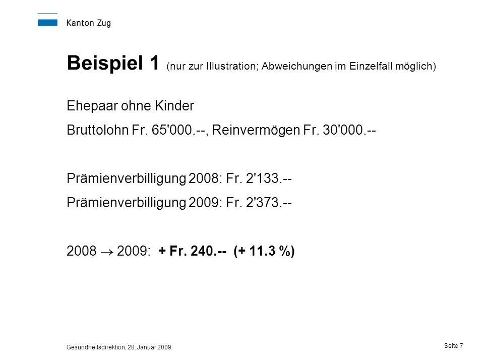 Gesundheitsdirektion, 28. Januar 2009 Seite 7 Beispiel 1 (nur zur Illustration; Abweichungen im Einzelfall möglich) Ehepaar ohne Kinder Bruttolohn Fr.