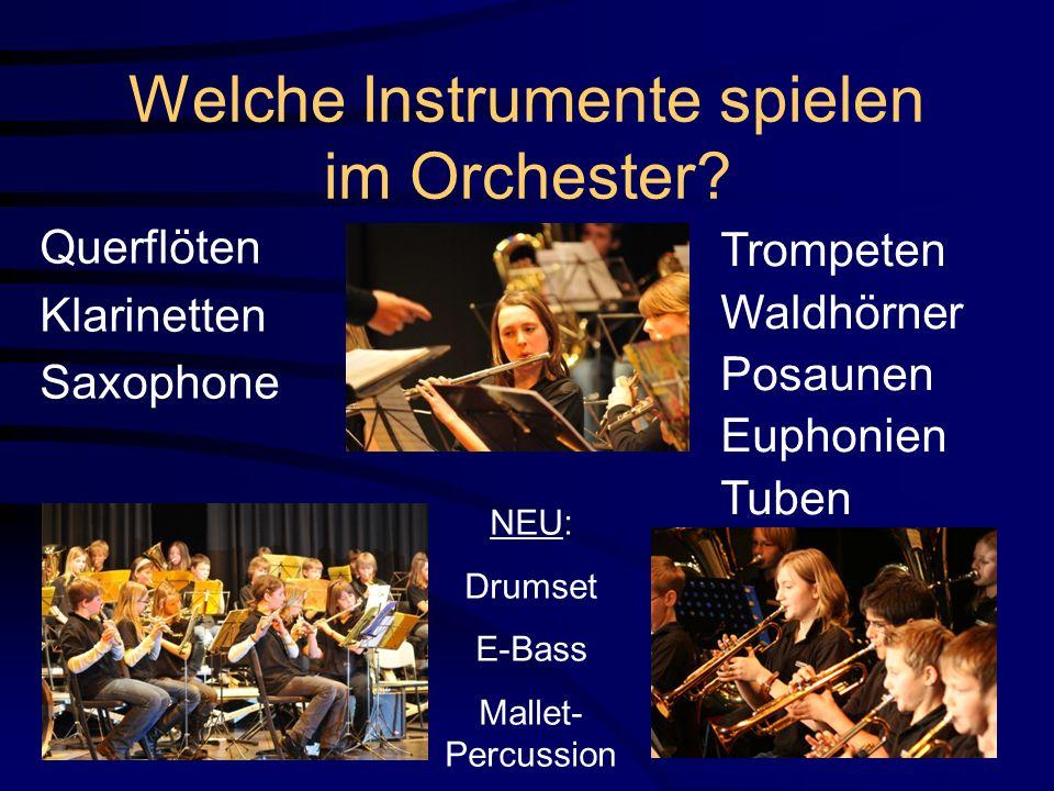 Welche Instrumente spielen im Orchester? Querflöten Klarinetten Saxophone Trompeten Waldhörner Posaunen Euphonien Tuben NEU: Drumset E-Bass Mallet- Pe