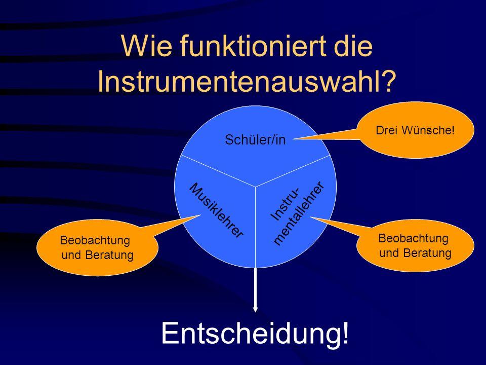Wie funktioniert die Instrumentenauswahl? Schüler/in Musiklehrer Drei Wünsche! Beobachtung und Beratung Instru- mentallehrer Entscheidung! Beobachtung