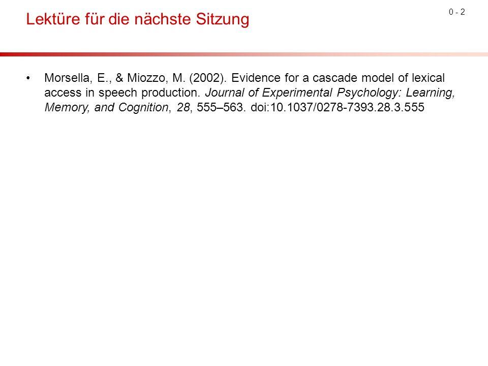 0 - 2 Lektüre für die nächste Sitzung Morsella, E., & Miozzo, M.