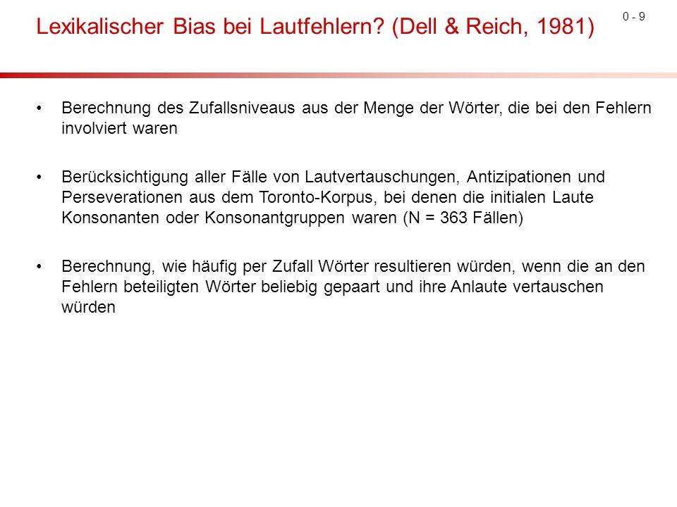 0 - 9 Lexikalischer Bias bei Lautfehlern.
