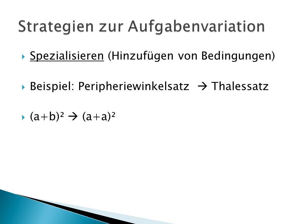  Spezialisieren (Hinzufügen von Bedingungen)  Beispiel: Peripheriewinkelsatz  Thalessatz  (a+b)²  (a+a)²