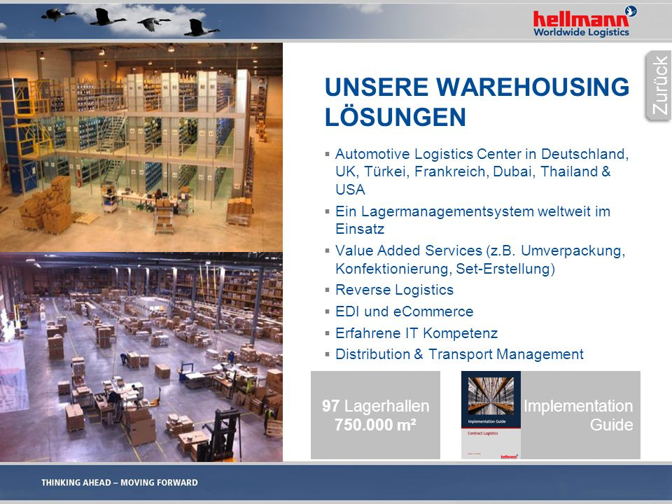 UNSERE WAREHOUSING LÖSUNGEN  Automotive Logistics Center in Deutschland, UK, Türkei, Frankreich, Dubai, Thailand & USA  Ein Lagermanagementsystem we