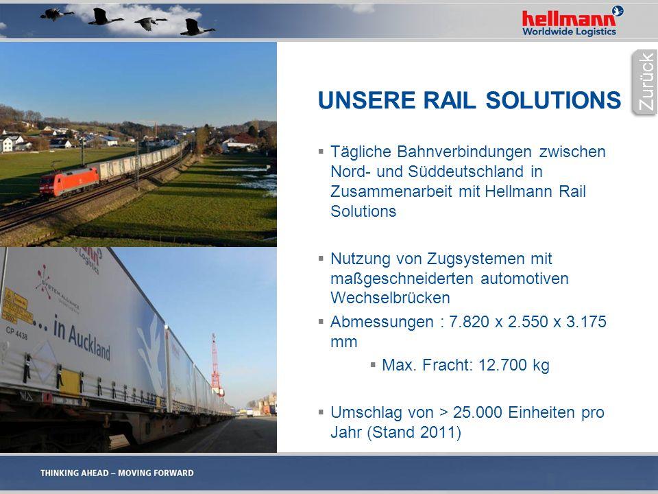 UNSERE RAIL SOLUTIONS  Tägliche Bahnverbindungen zwischen Nord- und Süddeutschland in Zusammenarbeit mit Hellmann Rail Solutions  Nutzung von Zugsystemen mit maßgeschneiderten automotiven Wechselbrücken  Abmessungen : 7.820 x 2.550 x 3.175 mm  Max.