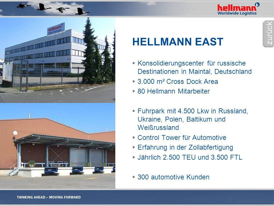 HELLMANN EAST  Konsolidierungscenter für russische Destinationen in Maintal, Deutschland  3.000 m² Cross Dock Area  80 Hellmann Mitarbeiter  Fuhrpark mit 4.500 Lkw in Russland, Ukraine, Polen, Baltikum und Weißrussland  Control Tower für Automotive  Erfahrung in der Zollabfertigung  Jährlich 2.500 TEU und 3.500 FTL  300 automotive Kunden zurück