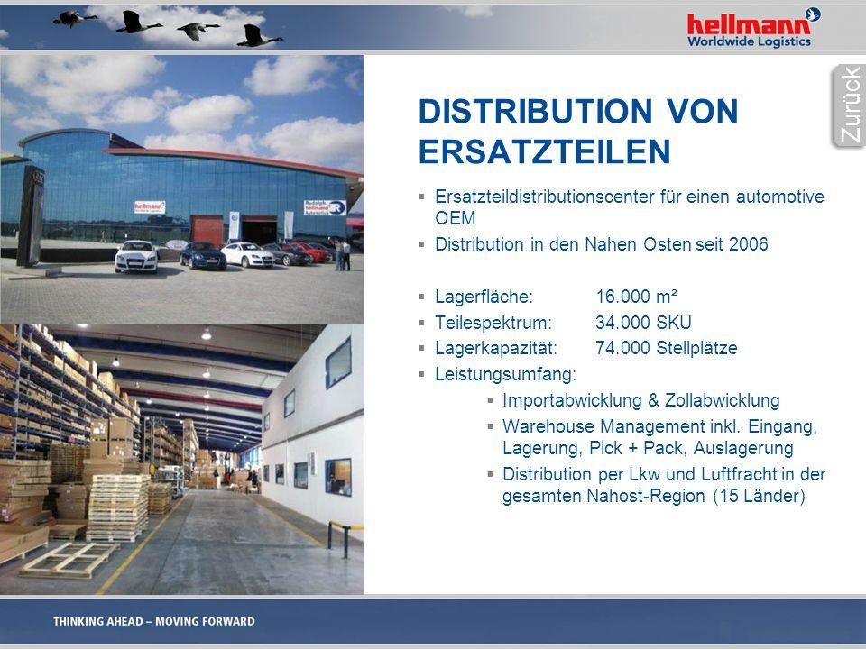 DISTRIBUTION VON ERSATZTEILEN  Ersatzteildistributionscenter für einen automotive OEM  Distribution in den Nahen Osten seit 2006  Lagerfläche: 16.000 m²  Teilespektrum: 34.000 SKU  Lagerkapazität: 74.000 Stellplätze  Leistungsumfang:  Importabwicklung & Zollabwicklung  Warehouse Management inkl.