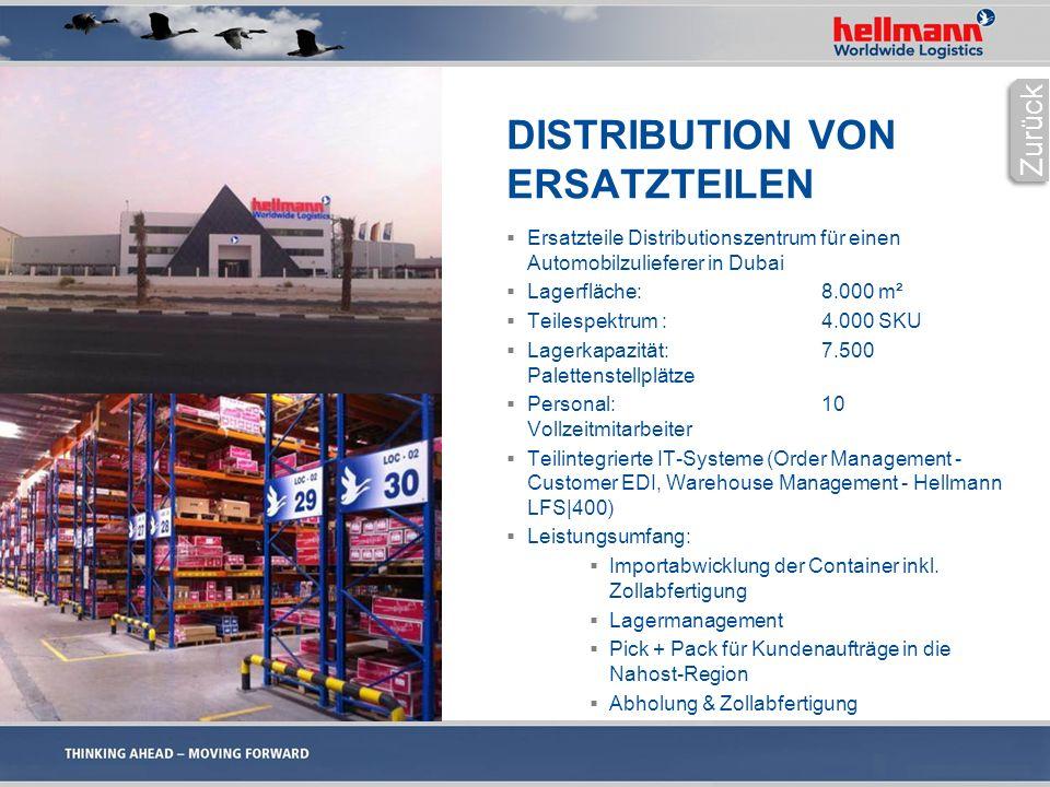 DISTRIBUTION VON ERSATZTEILEN  Ersatzteile Distributionszentrum für einen Automobilzulieferer in Dubai  Lagerfläche:8.000 m²  Teilespektrum :4.000 SKU  Lagerkapazität:7.500 Palettenstellplätze  Personal:10 Vollzeitmitarbeiter  Teilintegrierte IT-Systeme (Order Management - Customer EDI, Warehouse Management - Hellmann LFS|400)  Leistungsumfang:  Importabwicklung der Container inkl.