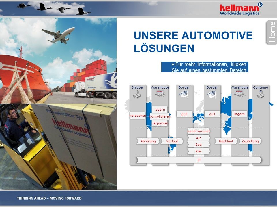 UNSERE AUTOMOTIVE LÖSUNGEN Home Warehouse Shipper Consigne e Border Warehouse Vorlauf Abholung IT Landtransport Air Sea Rail Nachlauf konsolidieren Zu