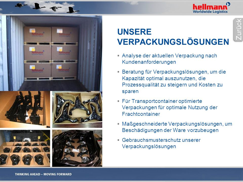 UNSERE VERPACKUNGSLÖSUNGEN  Analyse der aktuellen Verpackung nach Kundenanforderungen  Beratung für Verpackungslösungen, um die Kapazität optimal auszunutzen, die Prozessqualität zu steigern und Kosten zu sparen  Für Transportcontainer optimierte Verpackungen für optimale Nutzung der Frachtcontainer  Maßgeschneiderte Verpackungslösungen, um Beschädigungen der Ware vorzubeugen  Gebrauchsmusterschutz unserer Verpackungslösungen Zurück
