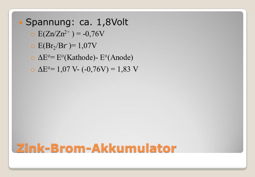Zink-Brom-Akkumulator Spannung: ca.