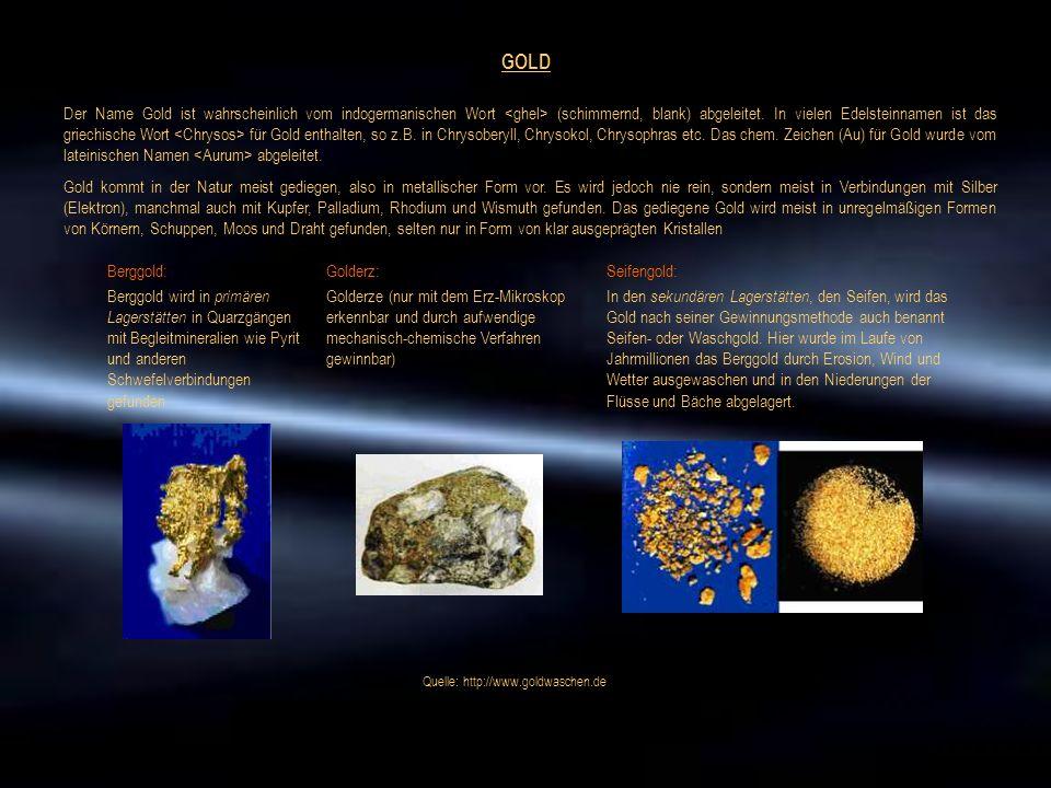 GOLD Der Name Gold ist wahrscheinlich vom indogermanischen Wort (schimmernd, blank) abgeleitet. In vielen Edelsteinnamen ist das griechische Wort für
