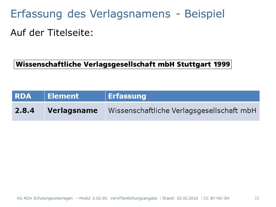 Erfassung des Verlagsnamens - Beispiel Auf der Titelseite: RDAElementErfassung 2.8.4VerlagsnameWissenschaftliche Verlagsgesellschaft mbH AG RDA Schulu