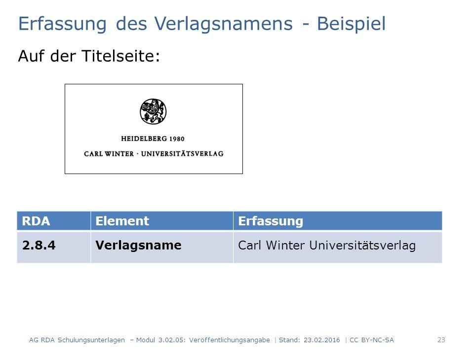 Erfassung des Verlagsnamens - Beispiel Auf der Titelseite: RDAElementErfassung 2.8.4VerlagsnameCarl Winter Universitätsverlag AG RDA Schulungsunterlag