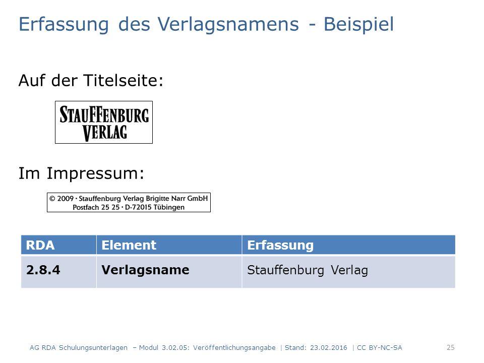 Erfassung des Verlagsnamens - Beispiel Auf der Titelseite: Im Impressum: RDAElementErfassung 2.8.4VerlagsnameStauffenburg Verlag AG RDA Schulungsunter