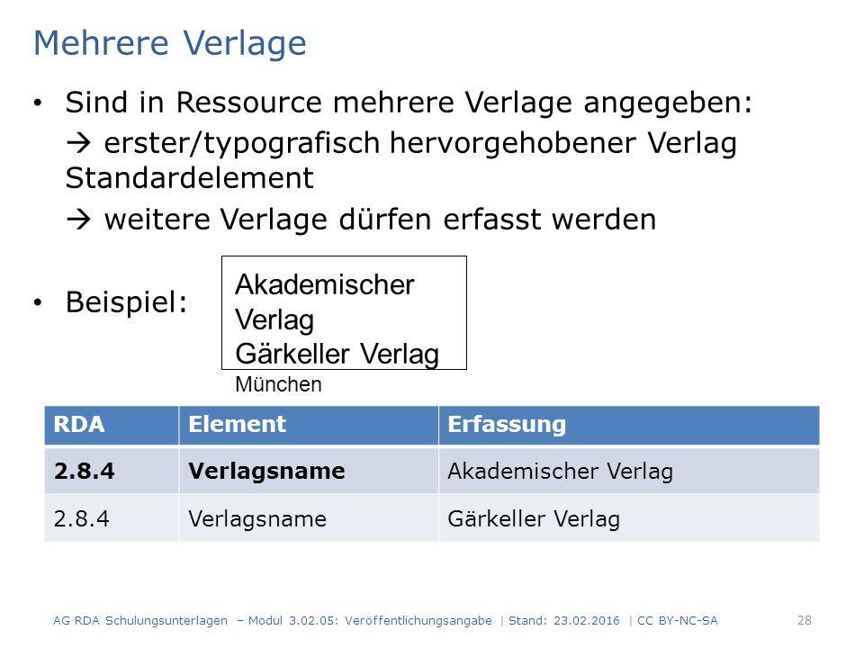 Mehrere Verlage Sind in Ressource mehrere Verlage angegeben:  erster/typografisch hervorgehobener Verlag Standardelement  weitere Verlage dürfen erf