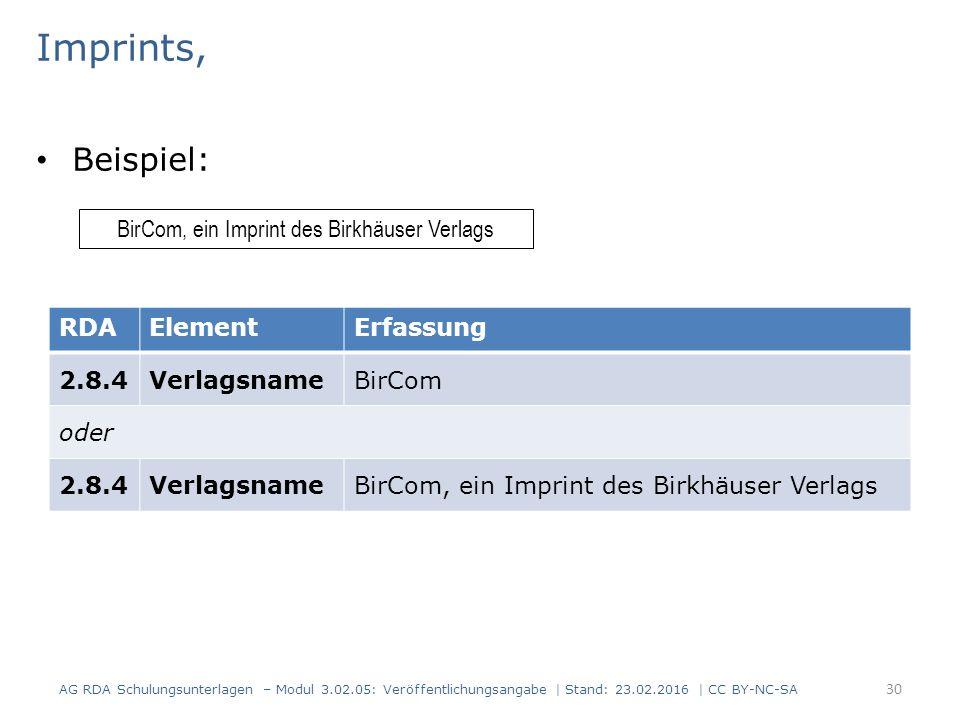 Imprints, Beispiel: AG RDA Schulungsunterlagen – Modul 3.02.05: Veröffentlichungsangabe | Stand: 23.02.2016 | CC BY-NC-SA 30 BirCom, ein Imprint des B