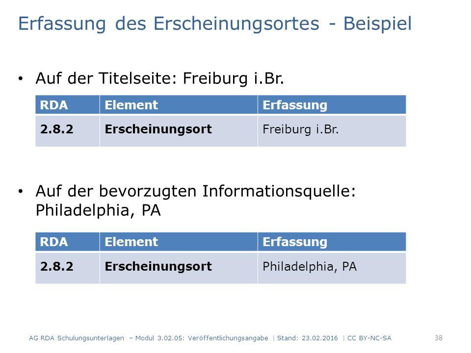 Erfassung des Erscheinungsortes - Beispiel Auf der Titelseite: Freiburg i.Br. Auf der bevorzugten Informationsquelle: Philadelphia, PA RDAElementErfas