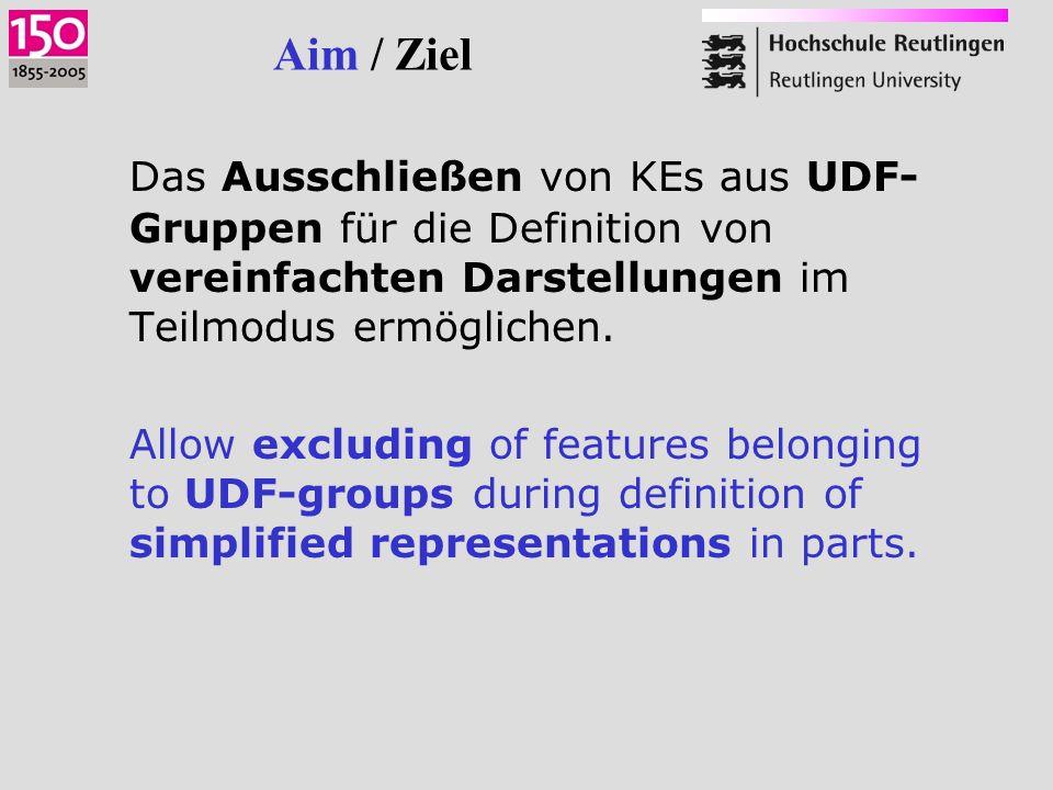 Aim / Ziel Das Ausschließen von KEs aus UDF- Gruppen für die Definition von vereinfachten Darstellungen im Teilmodus ermöglichen.