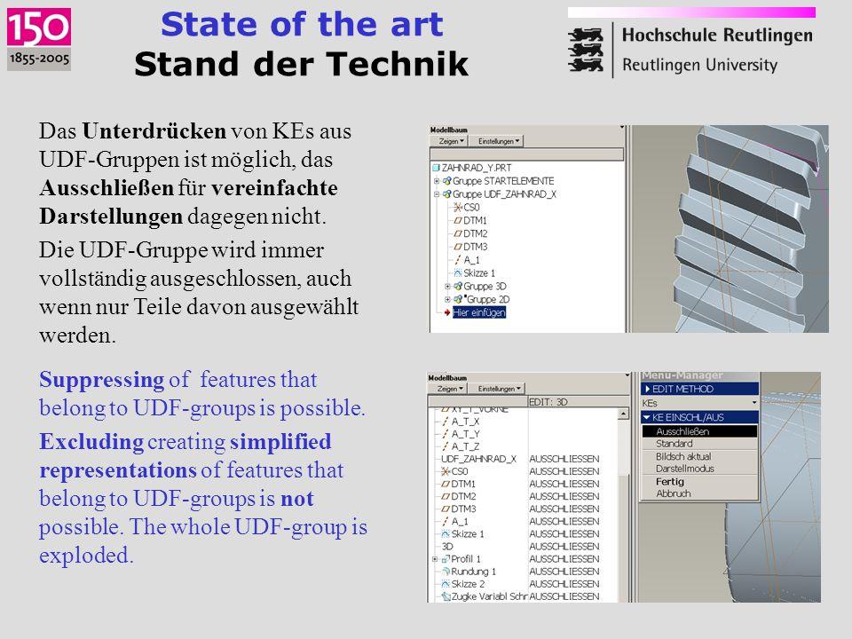 State of the art Stand der Technik Das Unterdrücken von KEs aus UDF-Gruppen ist möglich, das Ausschließen für vereinfachte Darstellungen dagegen nicht.