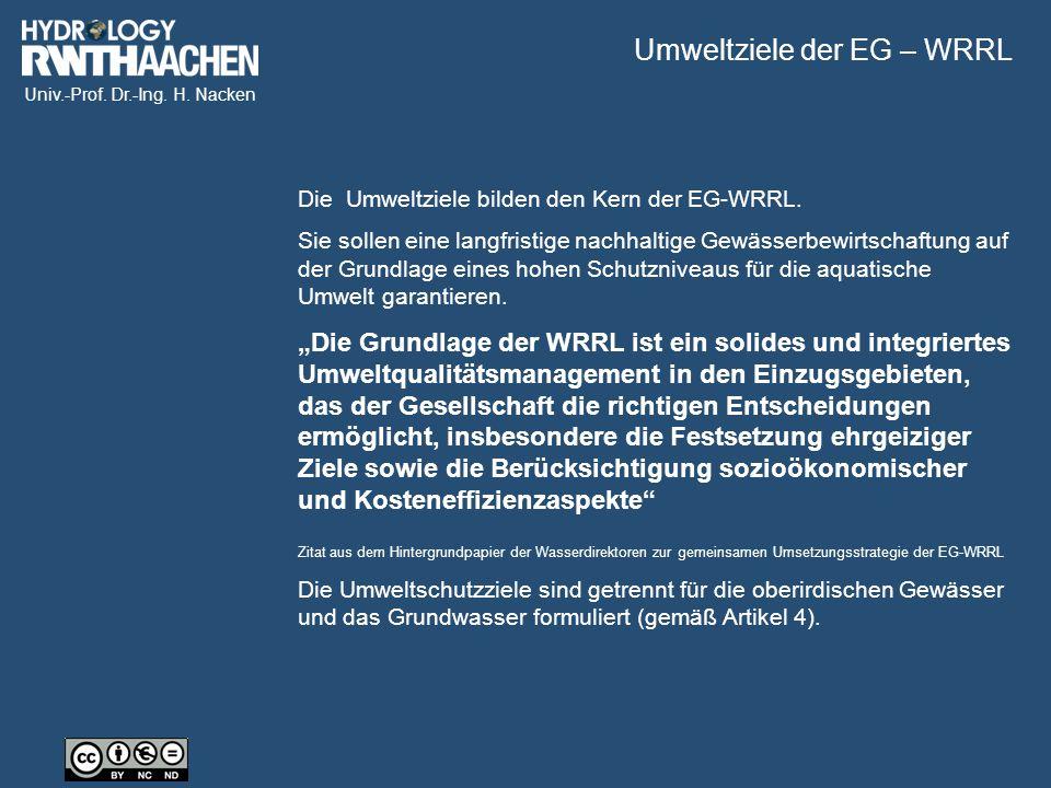 Univ.-Prof. Dr.-Ing. H. Nacken Die Umweltziele bilden den Kern der EG-WRRL.