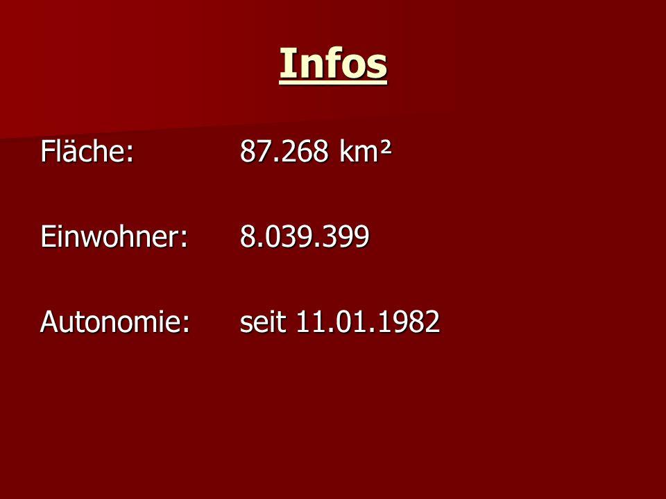 Infos Fläche:87.268 km² Einwohner: 8.039.399 Autonomie:seit 11.01.1982