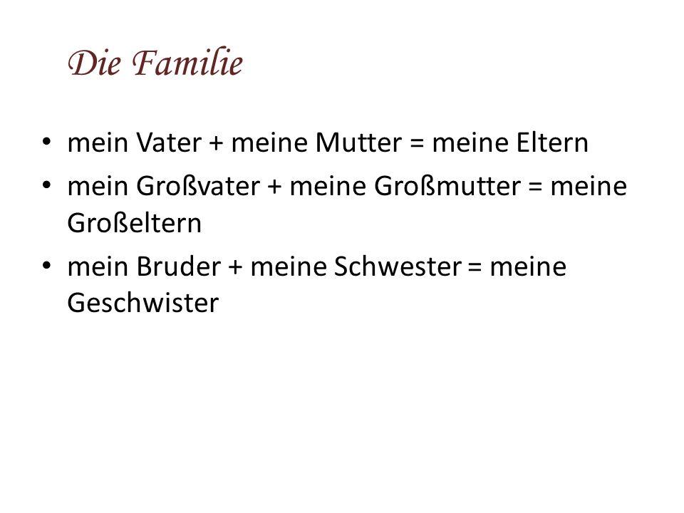 Die Familie mein Vater + meine Mutter = meine Eltern mein Großvater + meine Großmutter = meine Großeltern mein Bruder + meine Schwester = meine Geschwister