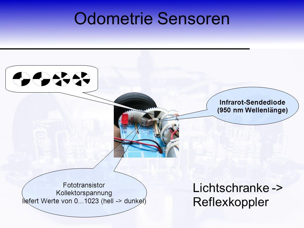 Odometrie Sensoren Infrarot-Sendediode (950 nm Wellenlänge) Fototransistor Kollektorspannung liefert Werte von 0...1023 (hell -> dunkel) Lichtschranke -> Reflexkoppler