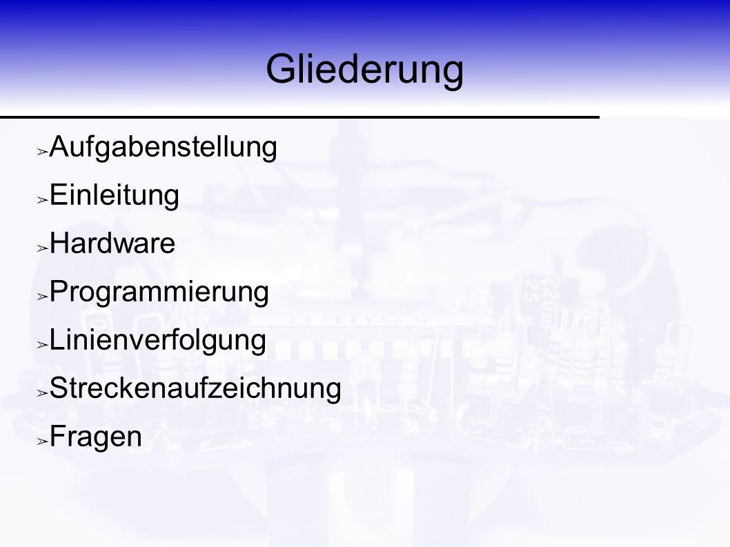 Aufbau eines ASURO-Programms Initialisieren ASURO-Verhalten Hauptprogram m Endlosschleife 0xAE ➢ Initialisierung ➢ Timer 2 = 36/72kHz ➢ Infrarotkonfiguration ➢ LEDs ➢ Motoren ➢ ASURO-Verhalten ➢ Endlosschleife ➢ Restspeicher