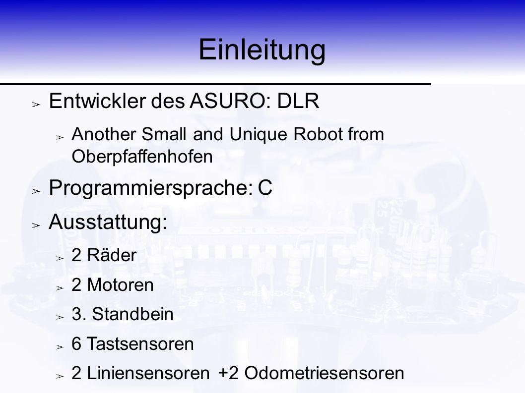 Einleitung ➢ Entwickler des ASURO: DLR ➢ Another Small and Unique Robot from Oberpfaffenhofen ➢ Programmiersprache: C ➢ Ausstattung: ➢ 2 Räder ➢ 2 Mot