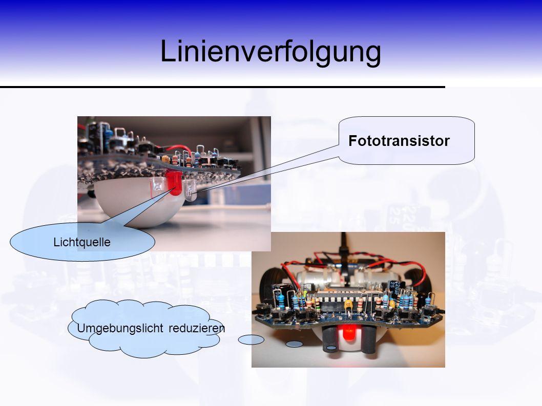 Linienverfolgung Fototransistor Umgebungslicht reduzieren Lichtquelle