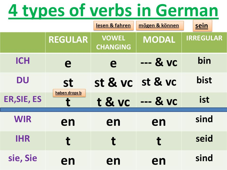 4 types of verbs in German REGULAR VOWEL CHANGING MODAL IRREGULAR ICH ee --- & vc bin DU stst & vc bist ER,SIE, ES tt & vc --- & vc ist WIR en sind IHR ttt seid sie, Sie en sind lesen & fahren mögen & können sein haben drops b