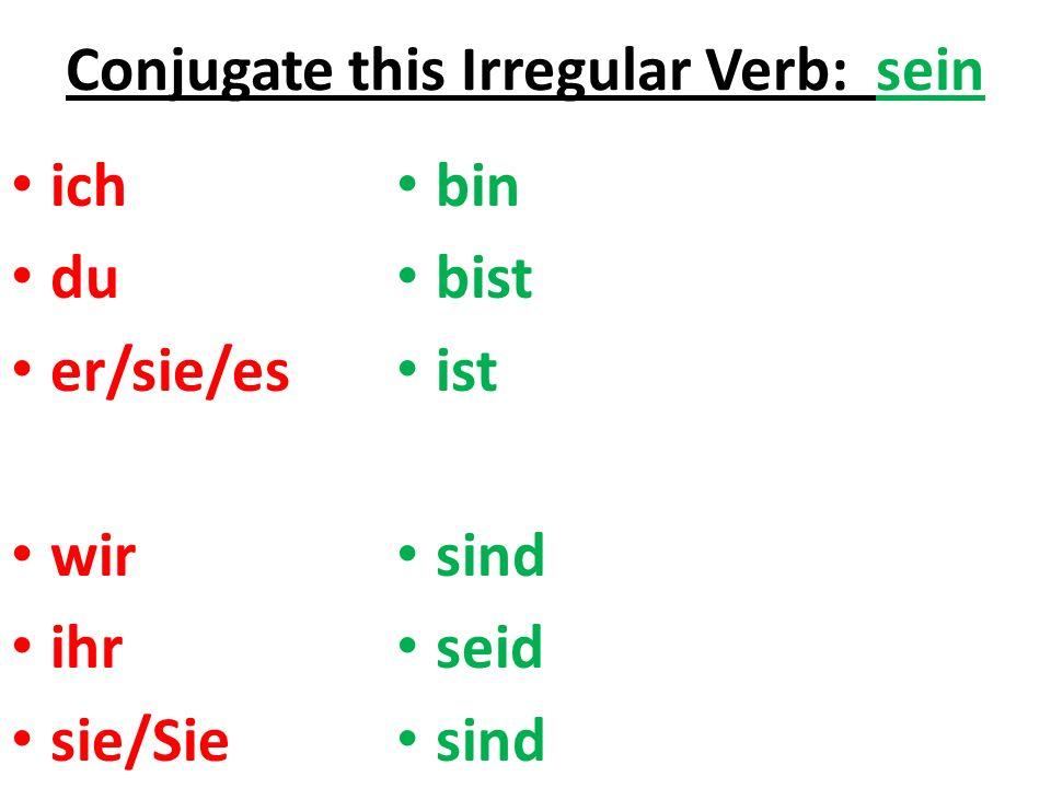 Conjugate this Irregular Verb: sein ich du er/sie/es wir ihr sie/Sie bin bist ist sind seid sind