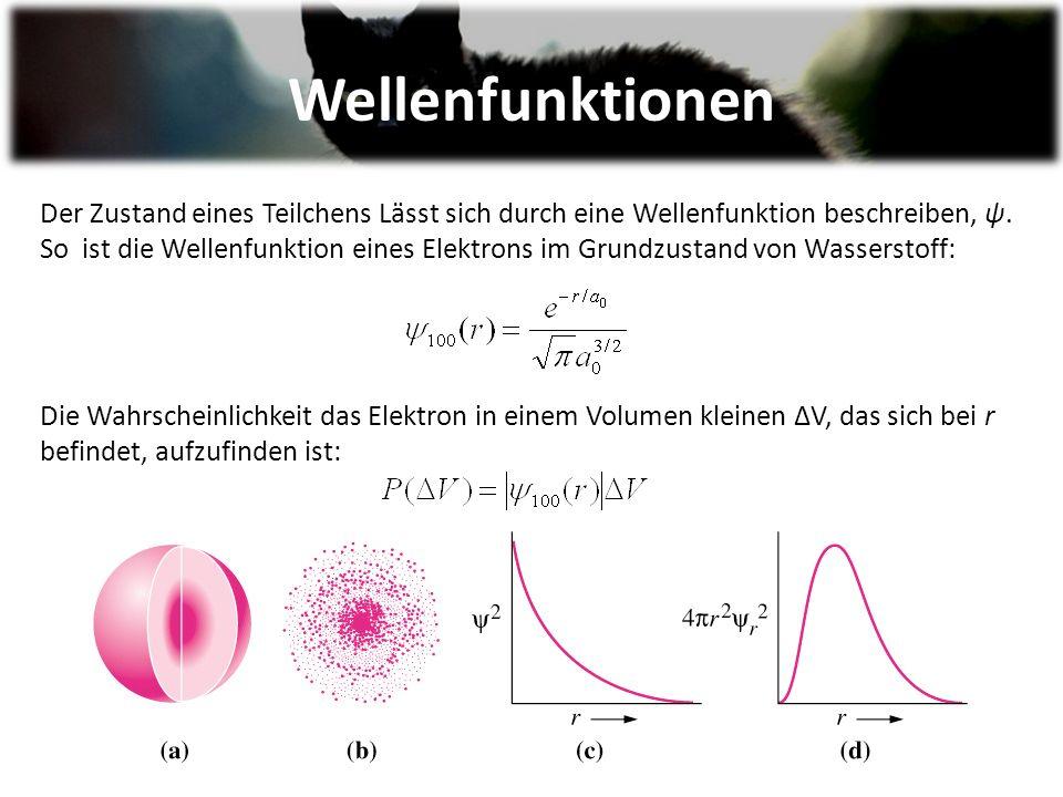 Wellenfunktionen Der Zustand eines Teilchens Lässt sich durch eine Wellenfunktion beschreiben, ψ.