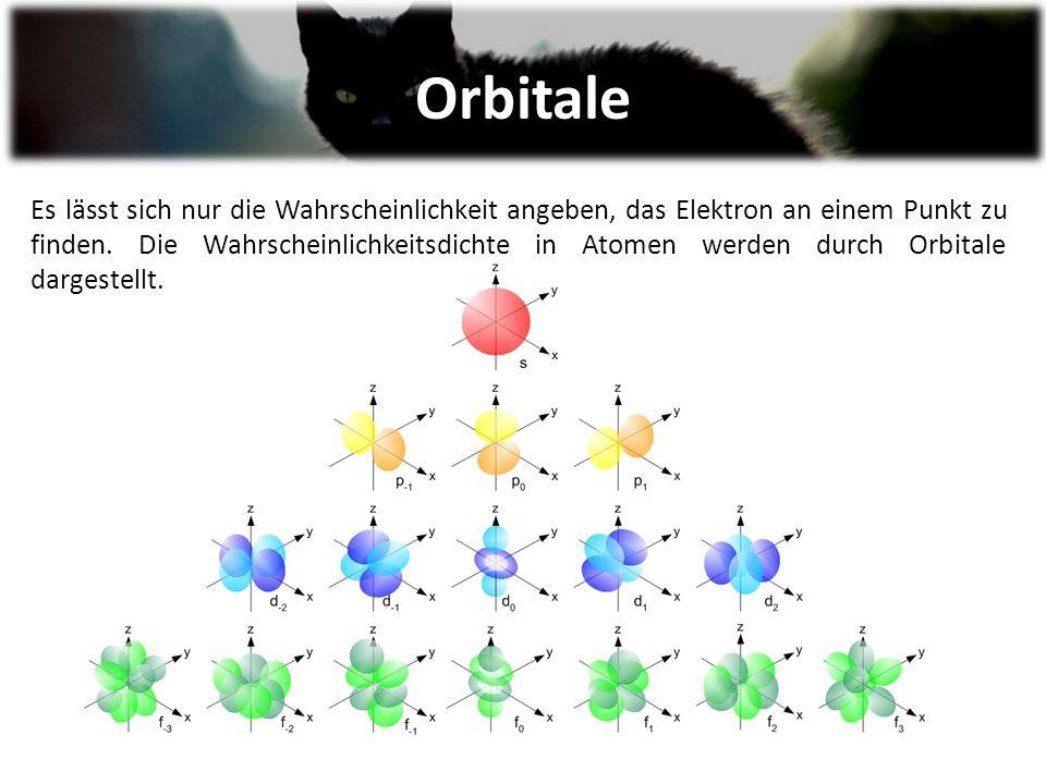 Orbitale Es lässt sich nur die Wahrscheinlichkeit angeben, das Elektron an einem Punkt zu finden.