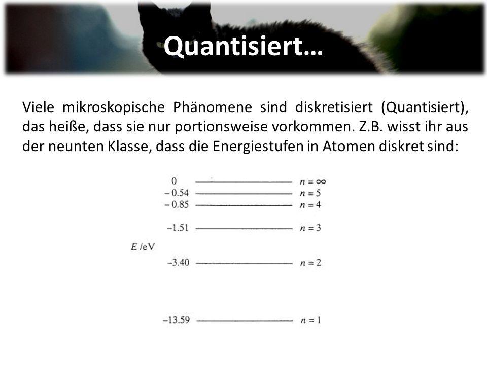 Quantisiert… Viele mikroskopische Phänomene sind diskretisiert (Quantisiert), das heiße, dass sie nur portionsweise vorkommen.
