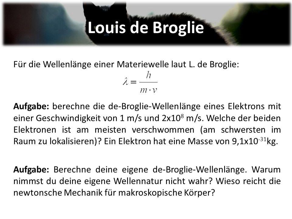 Louis de Broglie Für die Wellenlänge einer Materiewelle laut L.