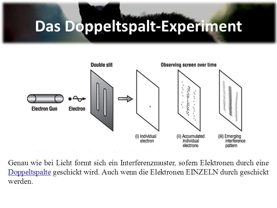 Das Doppeltspalt-Experiment Genau wie bei Licht formt sich ein Interferenzmuster, sofern Elektronen durch eine Doppeltspalte geschickt wird.