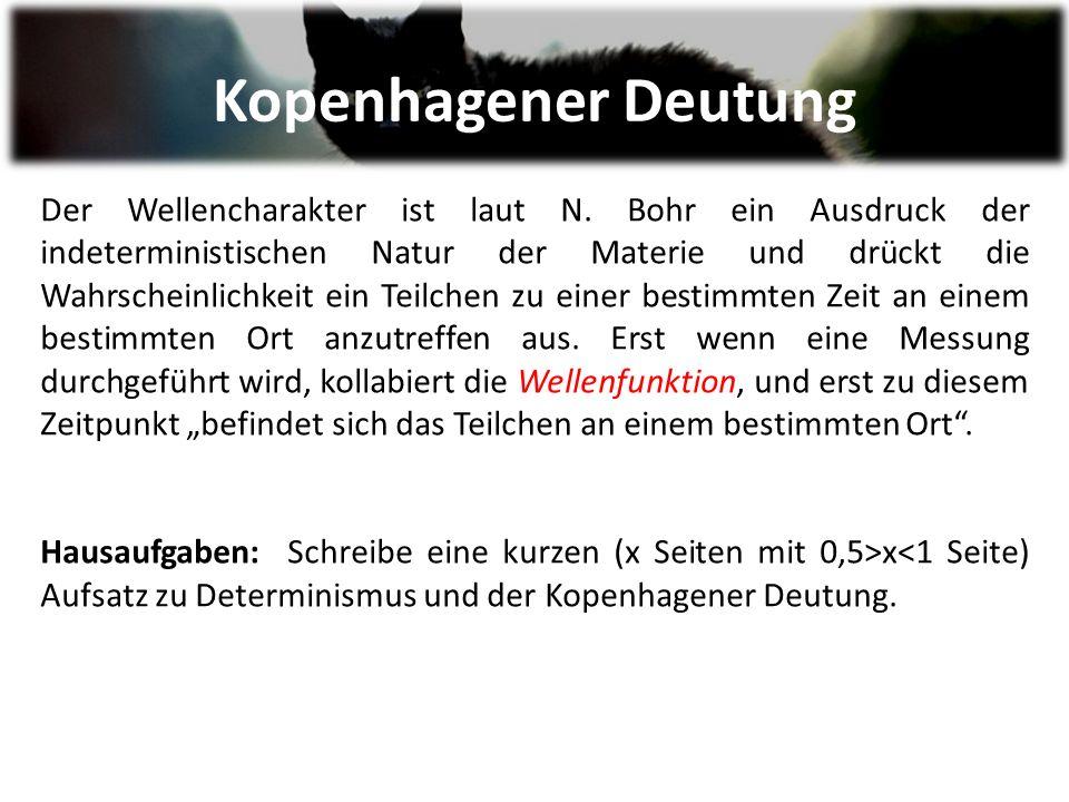 Kopenhagener Deutung Der Wellencharakter ist laut N.